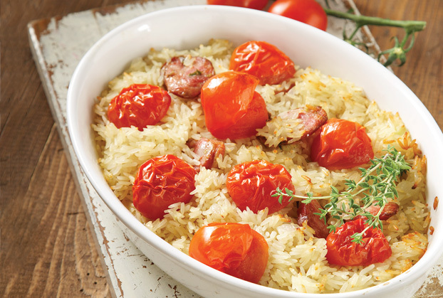 Рис, запеченный с колбасой