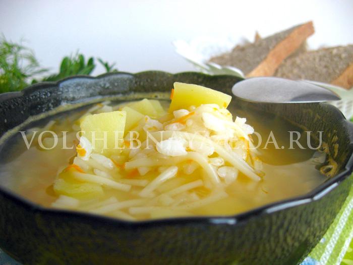 Рецепт приготовления овощного супа с вермишелью и рисом + фото