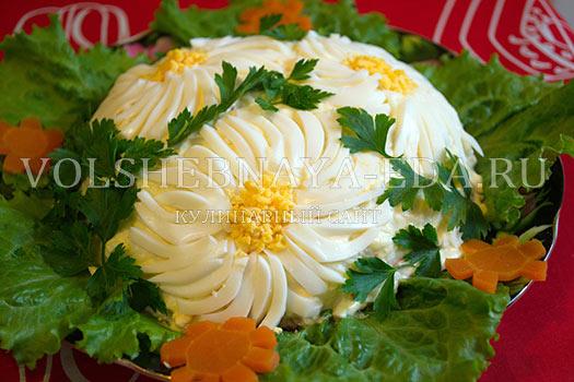 Салат ромашка с куриной печенью рецепт с фото пошагово