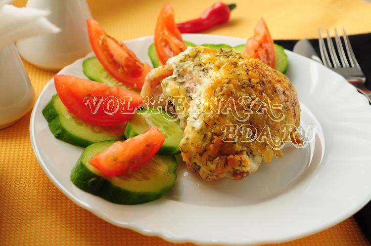 Курица с сырно-чесночной корочкой рецепт с фото