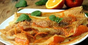 Фламбированные блинчики с апельсиновым соком и мандаринами