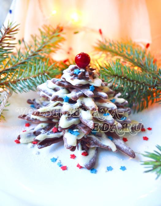 Елка из шоколада - пошаговый рецепт с фото