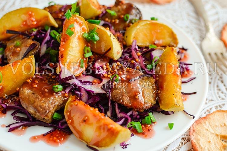 рецепт салата из куриной печени с малиновым соусом