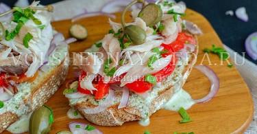 рецепт брускетта с рыбой горячего копчения