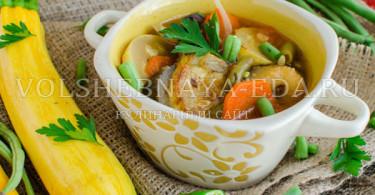 Летний овощной суп с копченой грудинкой