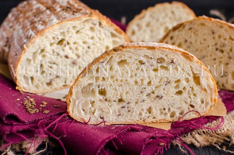 Хлеб на закваске с льняным семенем
