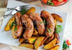 Картофель, запеченный в духовке с колбаской