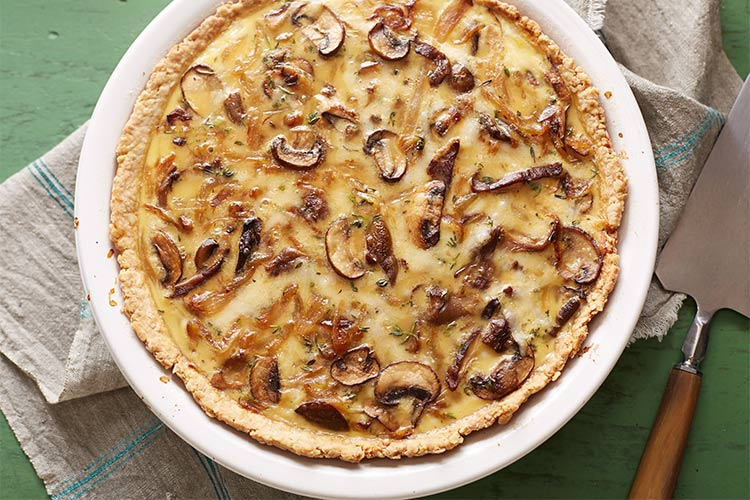 рецепт открытого грибного пирога