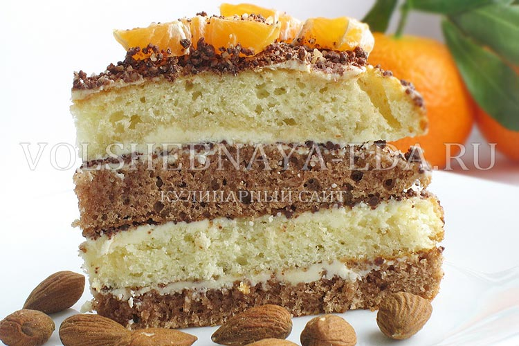 бисквитный торт с мандаринами