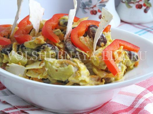 Салат из мяса и фасоли
