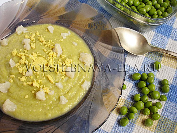 Суп-пюре из цветной капусты и горошка рецепт с фото