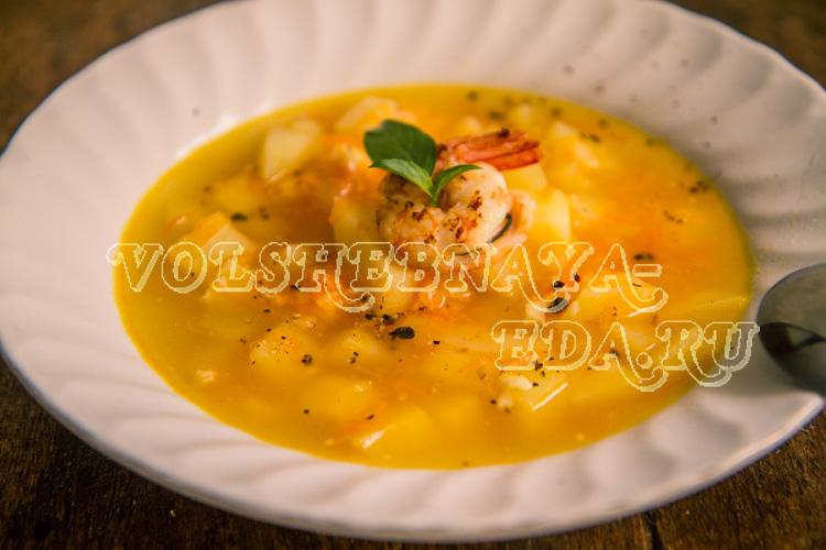 Сырный суп с креветками рецепт с фото