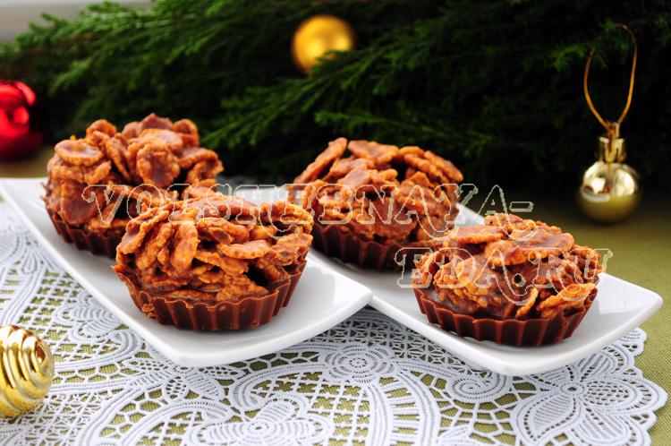 Шоколадные конфеты с кукурузными хлопьями и апельсиновой цедрой