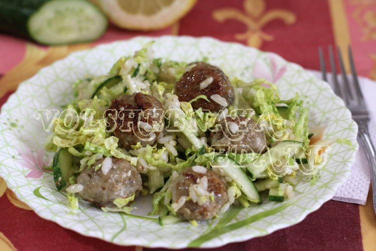 Салат с рыбными фрикадельками рецепт с фото