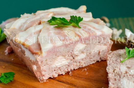 Мясной террин (свинина, курятина, бекон, сало). Базовый рецепт с фото