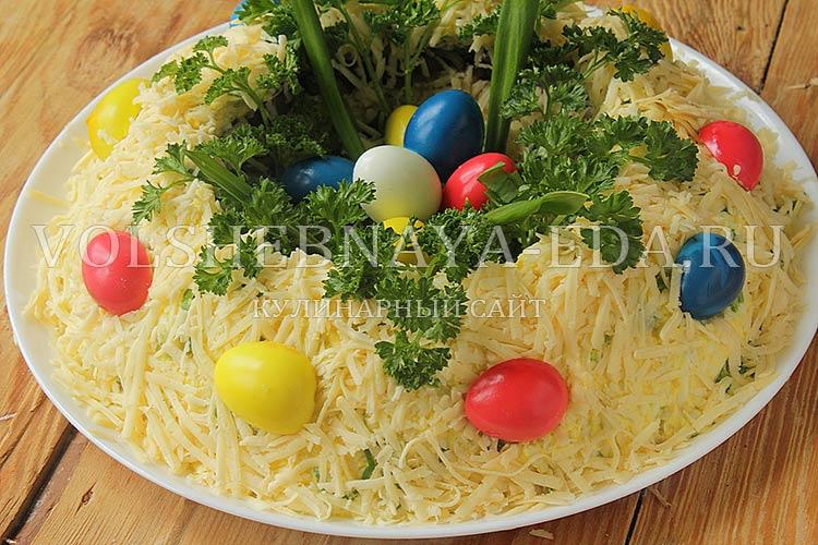 """рецепт салата """"Пасхальный"""" с крашеными яйцами"""