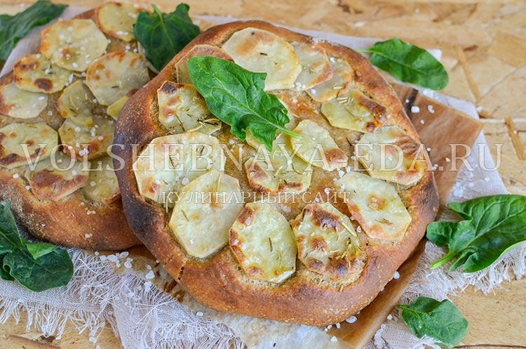 рецепт фокачча с картофелем из пшенично-ржаной муки
