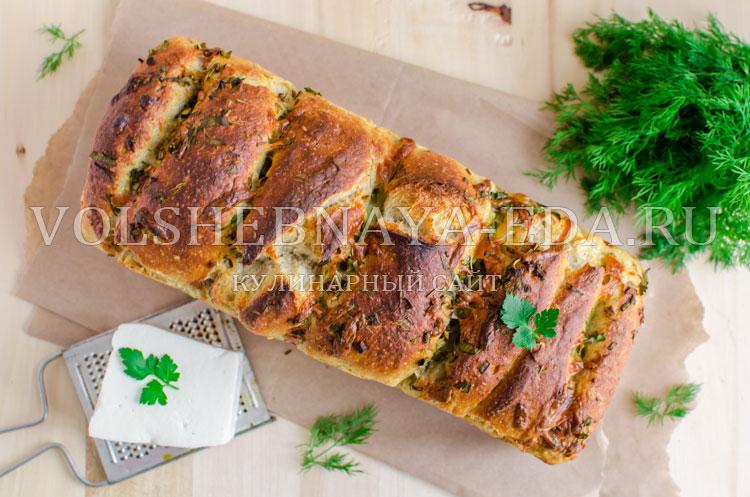 Хлеб-гармошка с брынзой и зеленью