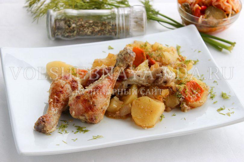 Куриные ножки в духовке с картошкой