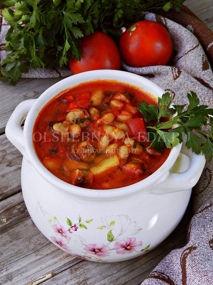 ostryj sup s pertsem, fasolyu i kolbaskami 14