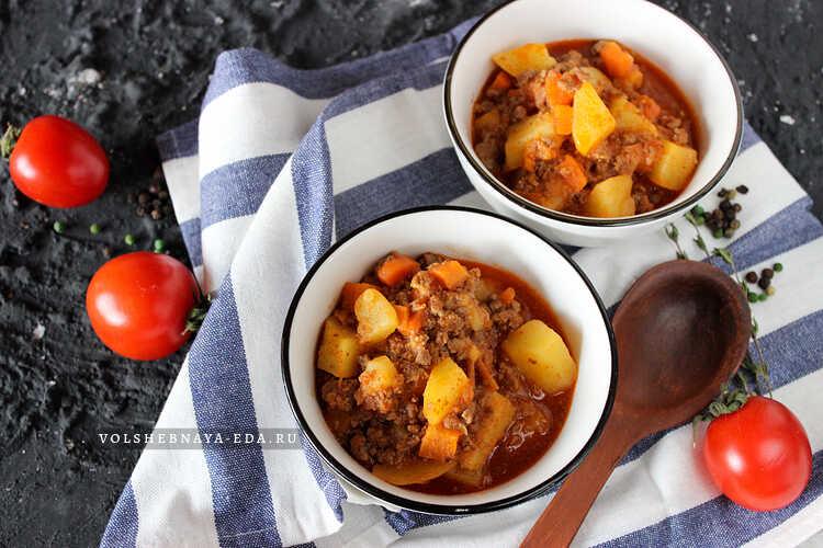 Рагу с фаршем и картошкой