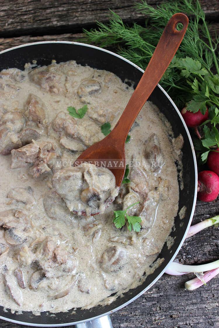 kurinaya pechen s gribami v slivochnom souse 10