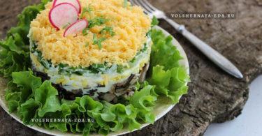 Салат с курицей, грибами и свежим огурцом