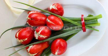 Закуска из помидоров «Букет тюльпанов»