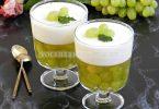 Десерт с мятным чаем и виноградом