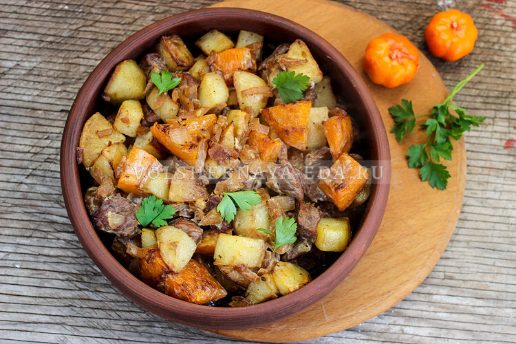 Тыква, запеченная с картофелем и мясом