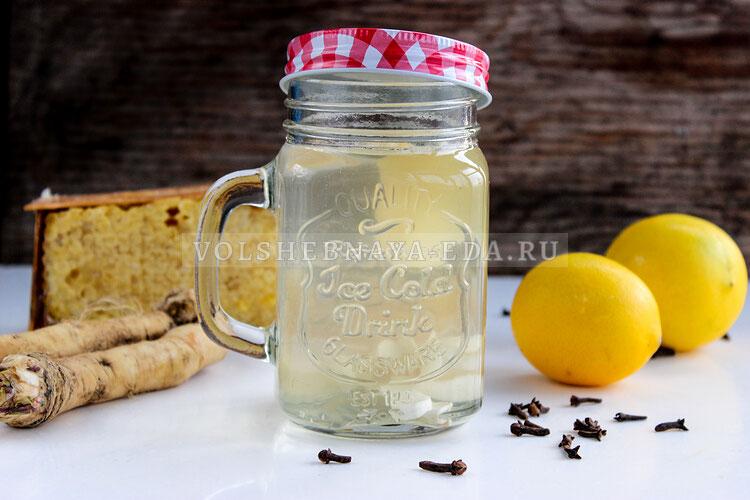 Хреновуха с медом, имбирем и лимоном Мягкая