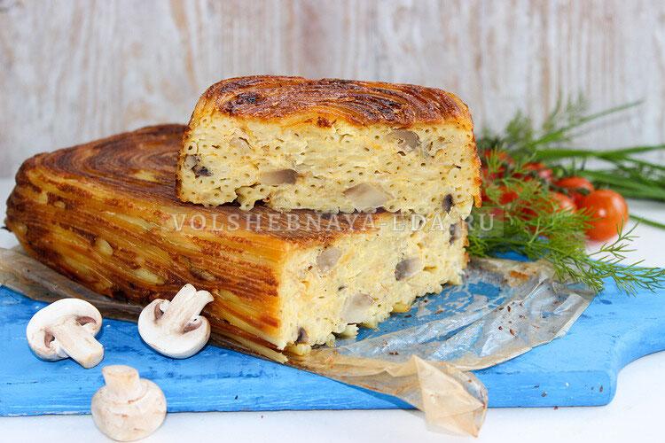 Макаронная запеканка с грибами и сыром