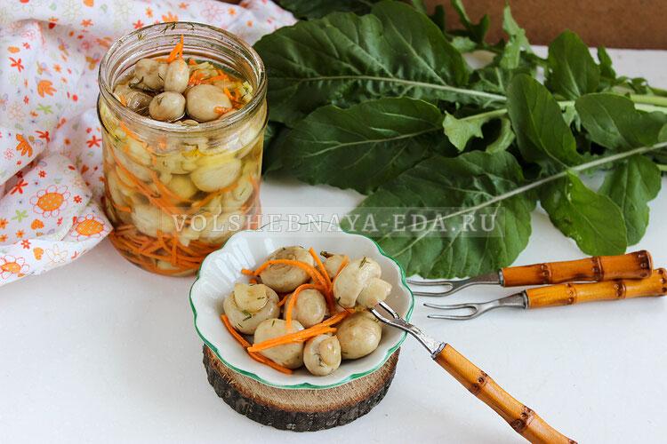 Маринованные грибы с морковью