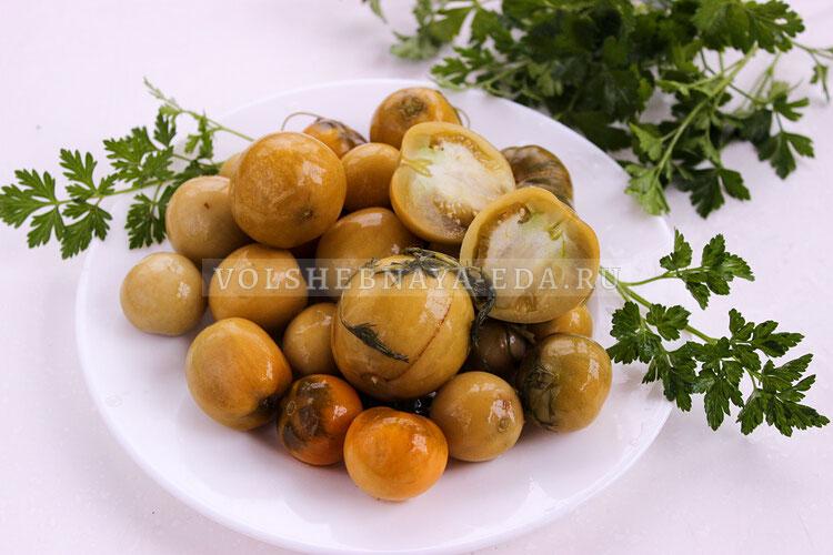 Соление зеленых и бурых томатов